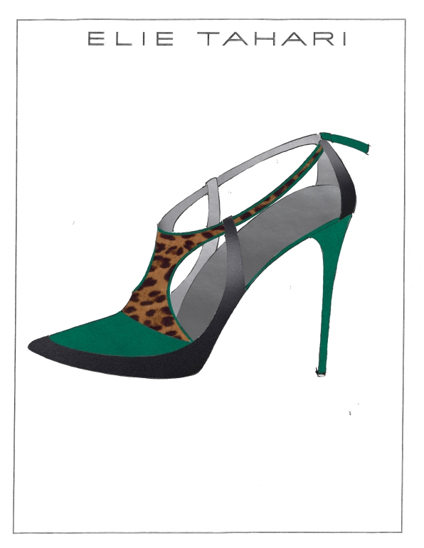 ellie tahari green and leopard suede